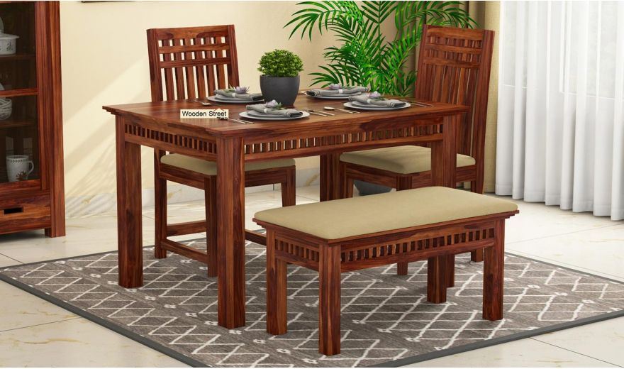 Adolph Compact 4 Seater Dining Set with Bench (Teak Finish)-1
