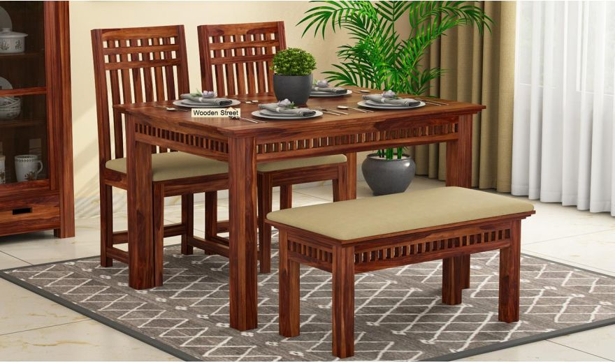 Adolph Compact 4 Seater Dining Set with Bench (Teak Finish)-2