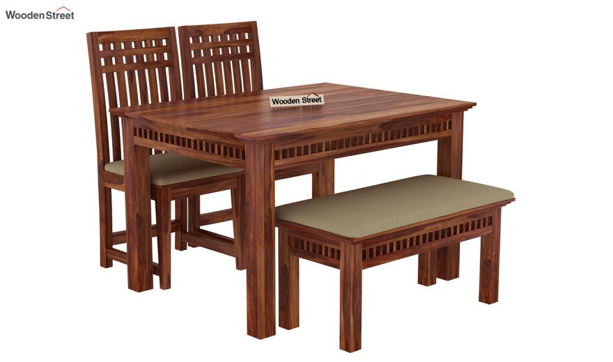 Adolph Compact 4 Seater Dining Set with Bench (Teak Finish)-3