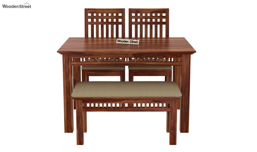 Adolph Compact 4 Seater Dining Set with Bench (Teak Finish)-5