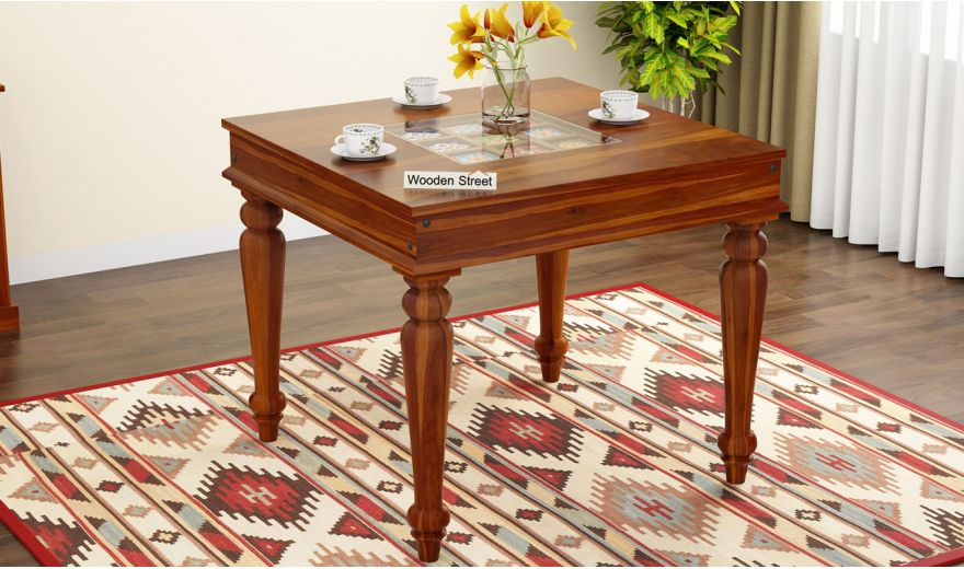 Boho 4 Seater Dining Table (Honey Finish)-1