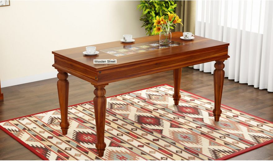 Boho 6 Seater Dining Table (Honey Finish)-1