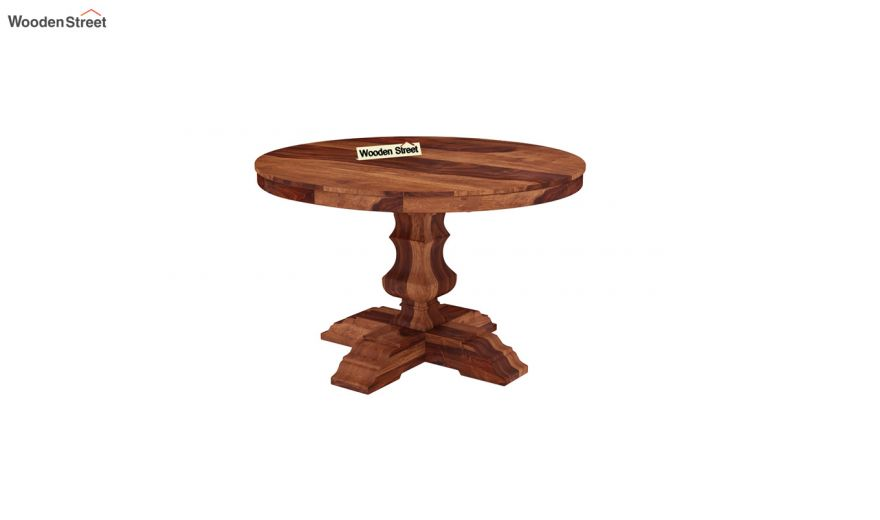 Clark Round 4 Seater Dining Table (Honey Finish)-2