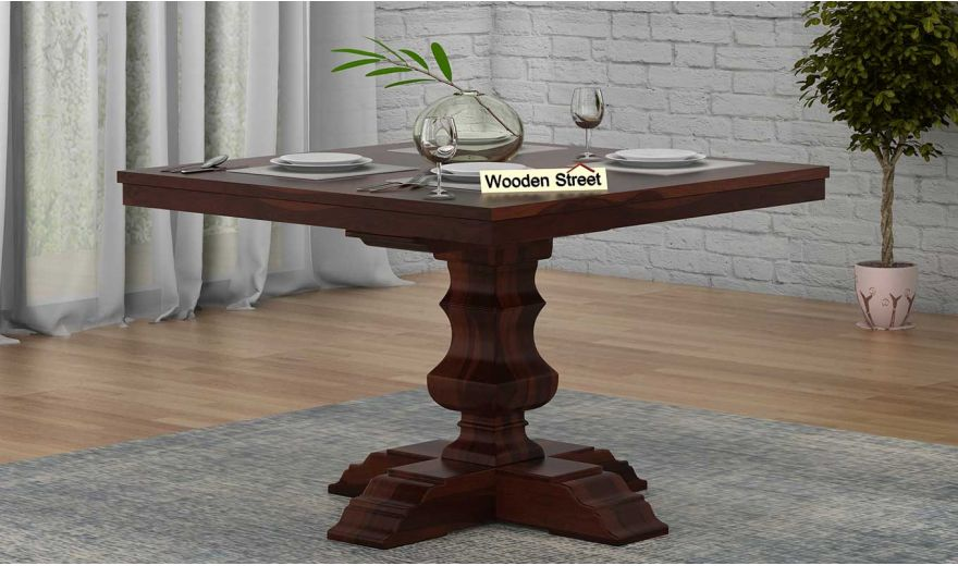 Clark Square 4 Seater Dining Table (Walnut Finish)-1