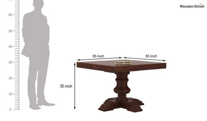 Clark Square 4 Seater Dining Table (Walnut Finish)-6
