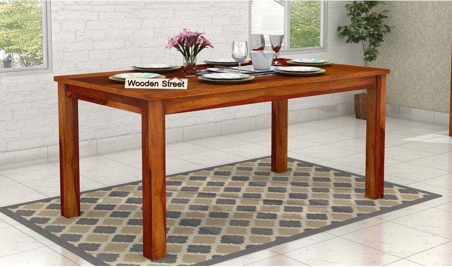 Elaine 6 Seater Dining Table (Honey Finish)-1