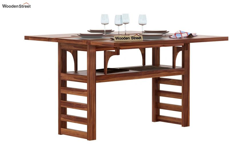 Feller Foldable Dining Table (Teak Finish)-2