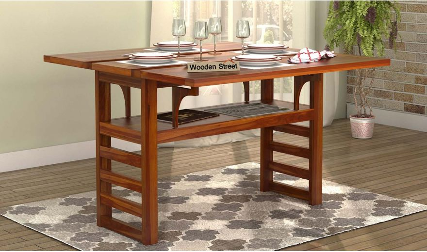 Feller Foldable Dining Table (Teak Finish)-1