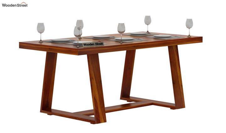 Garson 6 Seater Dining Table (Honey Finish)-2