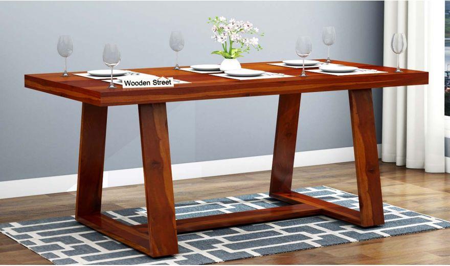 Garson 6 Seater Dining Table (Honey Finish)-1