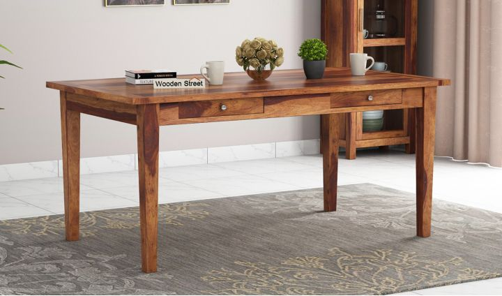 Mcbeth Dining Table With Storage (Teak Finish)-1