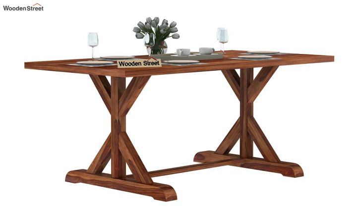 Mindy 6 Seater Dining Table (Teak Finish)-2