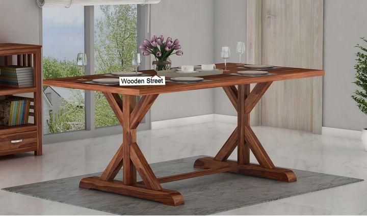 Mindy 6 Seater Dining Table (Teak Finish)-1