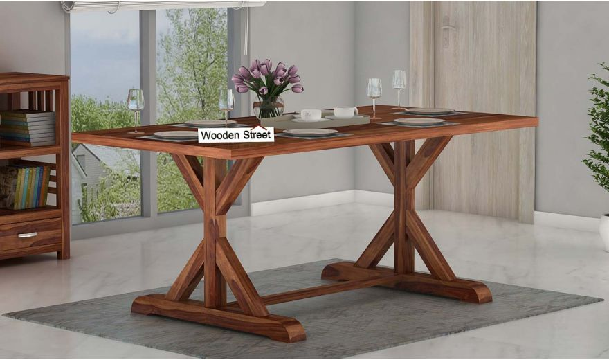 Mindy 6 Seater Dining Table (Teak Finish)-1