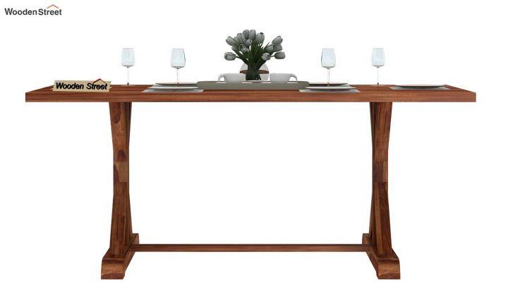 Mindy 6 Seater Dining Table (Teak Finish)-3