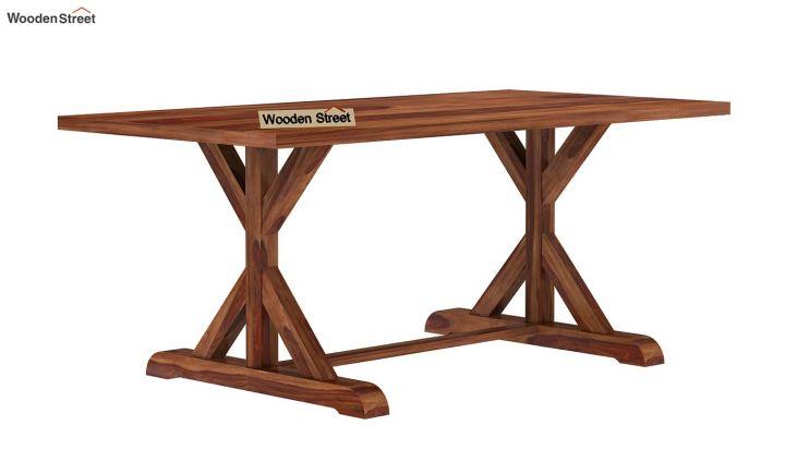 Mindy 6 Seater Dining Table (Teak Finish)-4