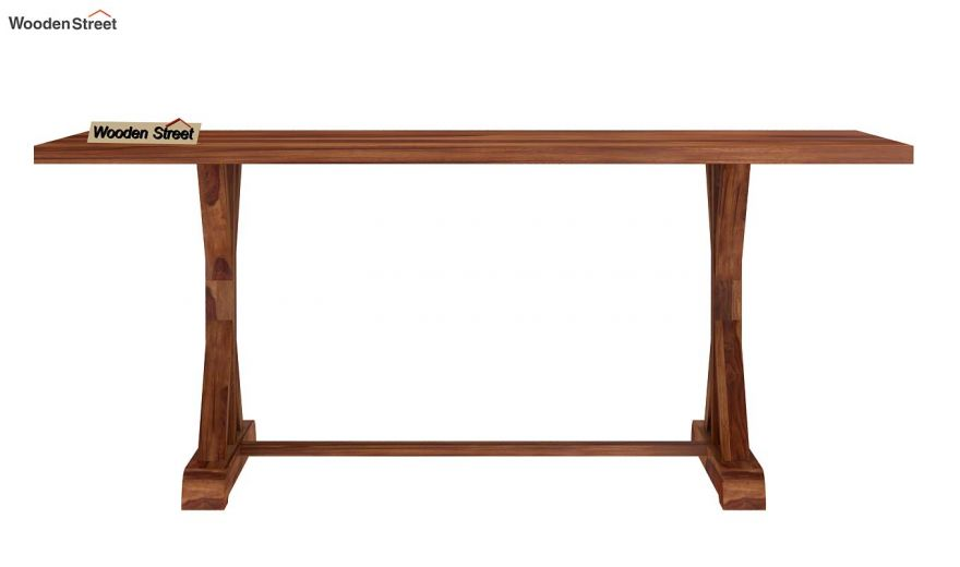 Mindy 6 Seater Dining Table (Teak Finish)-5