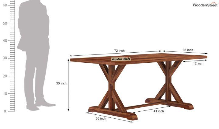 Mindy 6 Seater Dining Table (Teak Finish)-6