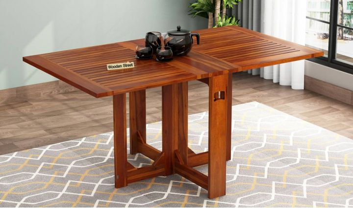 Paul Foldable Dining Table (Honey Finish)-1