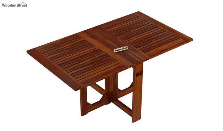 Paul Foldable Dining Table (Honey Finish)-5