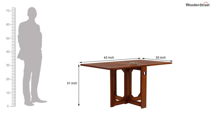Paul Foldable Dining Table (Honey Finish)-12