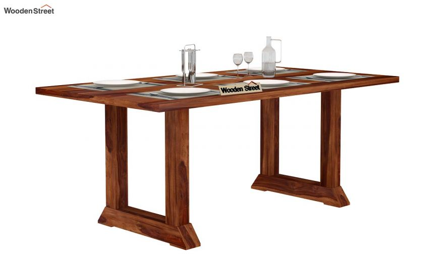 Rusler 6 Seater Dining Table (Teak Finish)-2