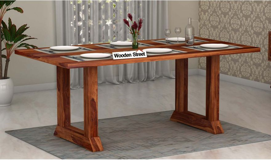 Rusler 6 Seater Dining Table (Teak Finish)-1