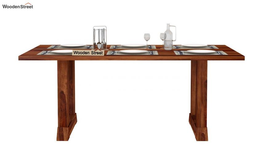 Rusler 6 Seater Dining Table (Teak Finish)-3