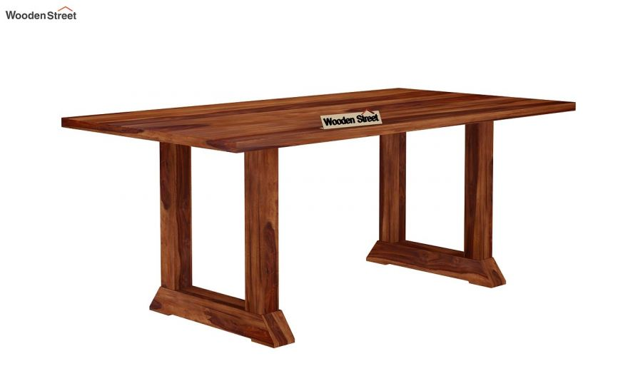 Rusler 6 Seater Dining Table (Teak Finish)-4
