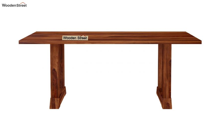Rusler 6 Seater Dining Table (Teak Finish)-5