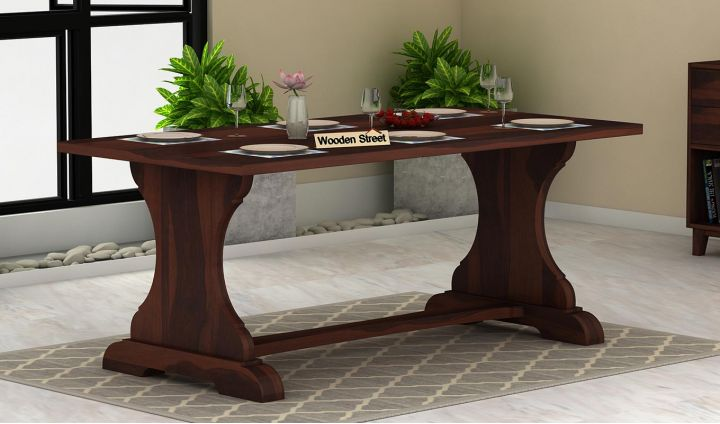 Ryder 6 Seater Dining Table (Walnut Finish)-1