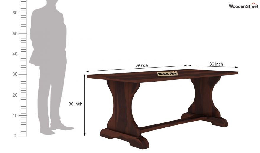 Ryder 6 Seater Dining Table (Walnut Finish)-6