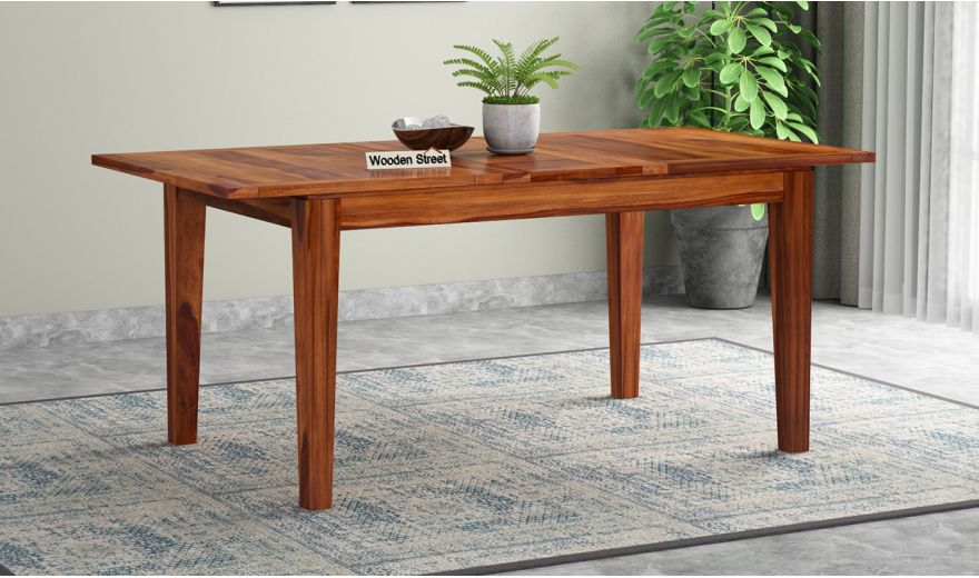 Tim Extendable Dining Table (Honey Finish)-1
