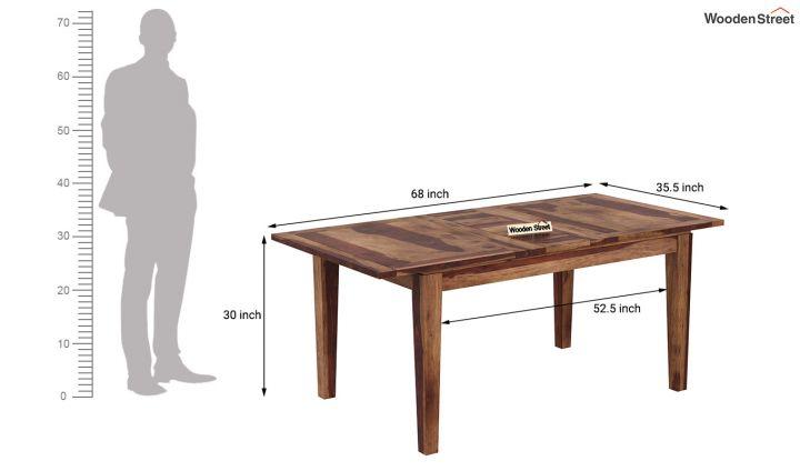 Tim Extendable Dining Table (Teak Finish)-7