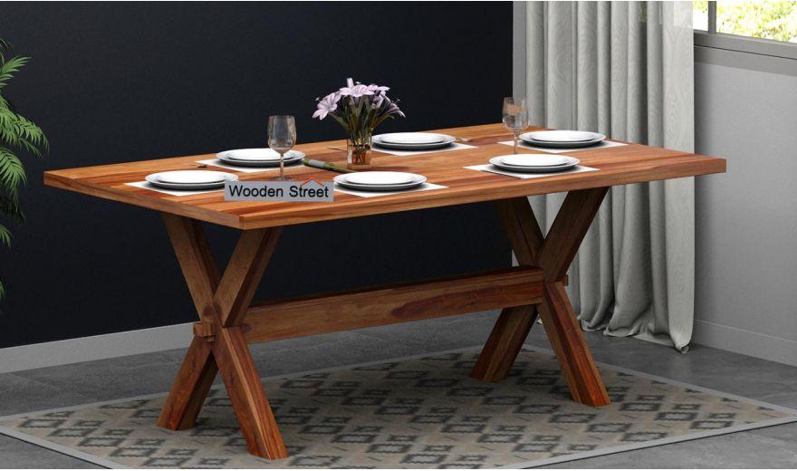 Waltz 6 Seater Dining Table (Teak Finish)-1