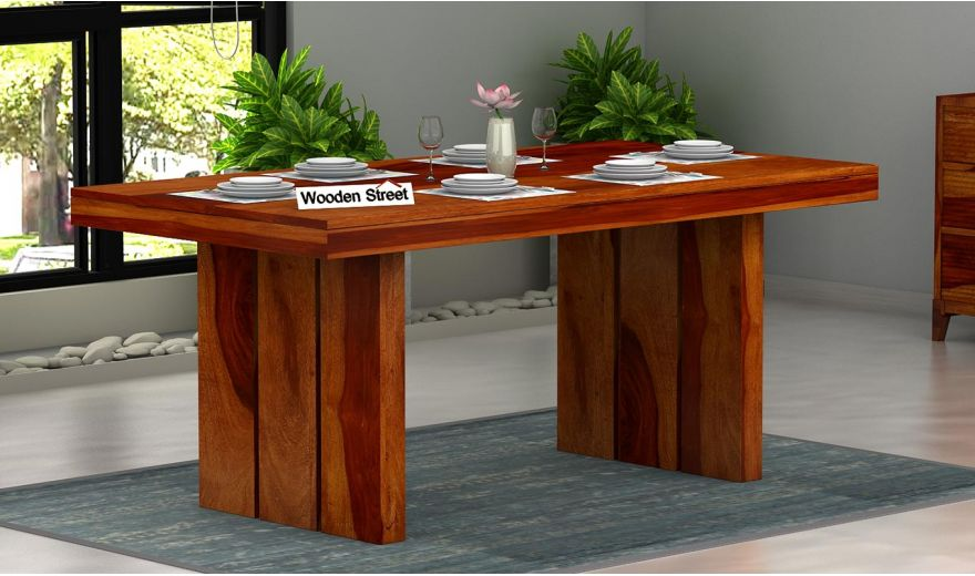 Wertex 6 Seater Dining Table (Honey Finish)-1