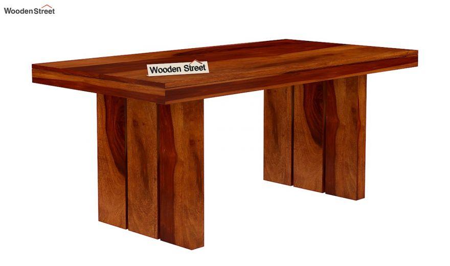 Wertex 6 Seater Dining Table (Honey Finish)-4