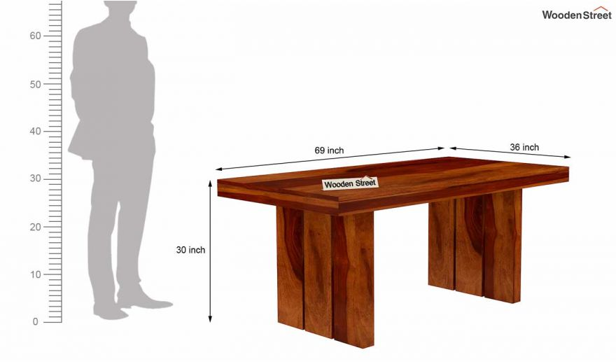 Wertex 6 Seater Dining Table (Honey Finish)-6
