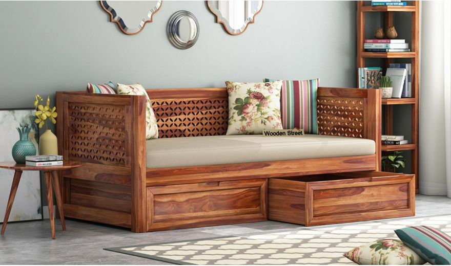 Angelica Divan With Storage (Teak Finish)-1