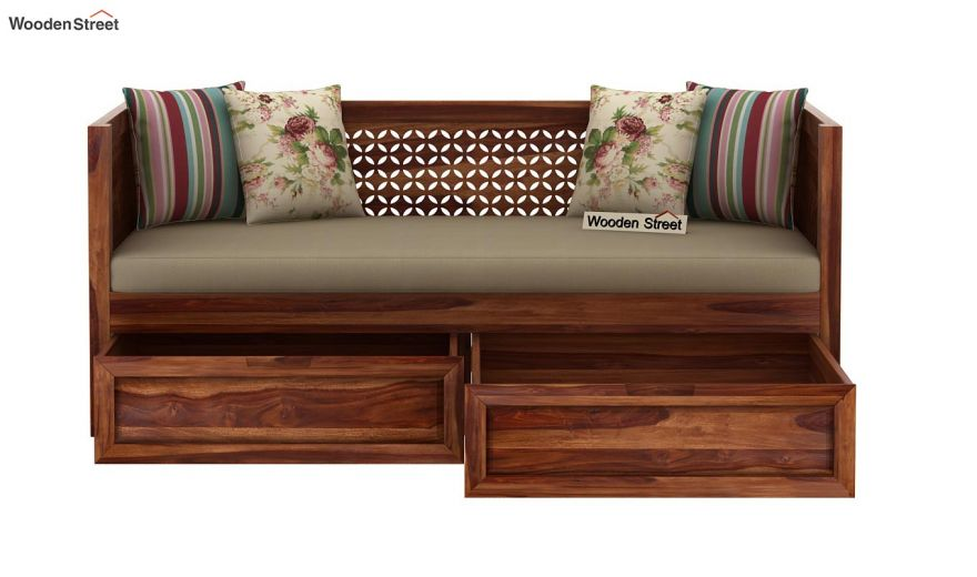 Angelica Divan With Storage (Teak Finish)-5
