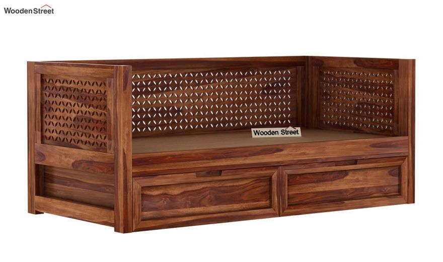Angelica Divan With Storage (Teak Finish)-6