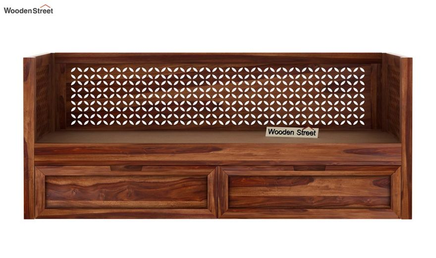 Angelica Divan With Storage (Teak Finish)-7