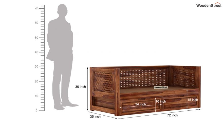 Angelica Divan With Storage (Teak Finish)-8