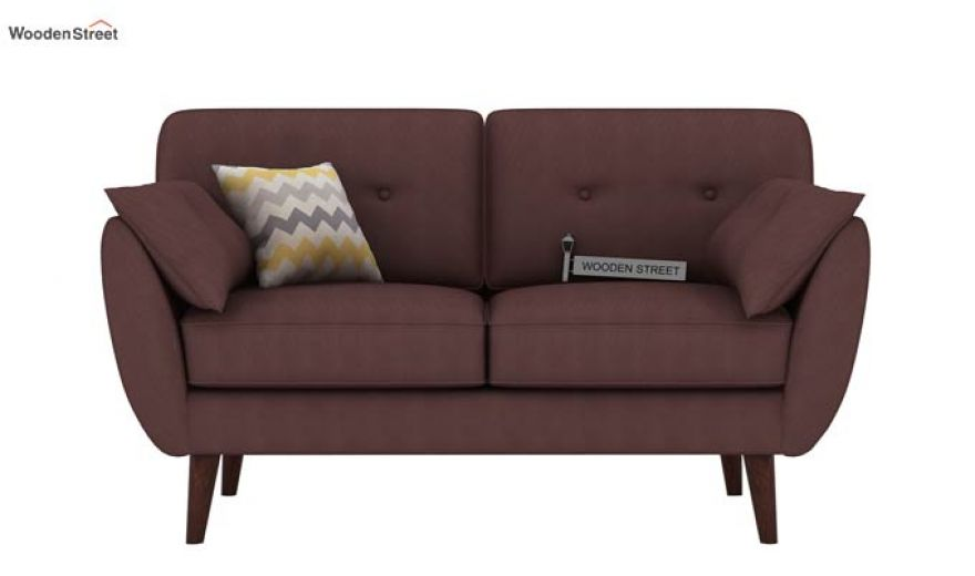 Angela 2 Seater Sofa (Fabric, Classic Brown)-2