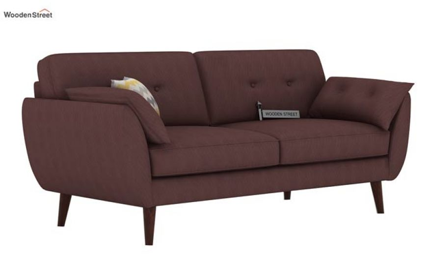 Angela 2 Seater Sofa (Fabric, Classic Brown)-5