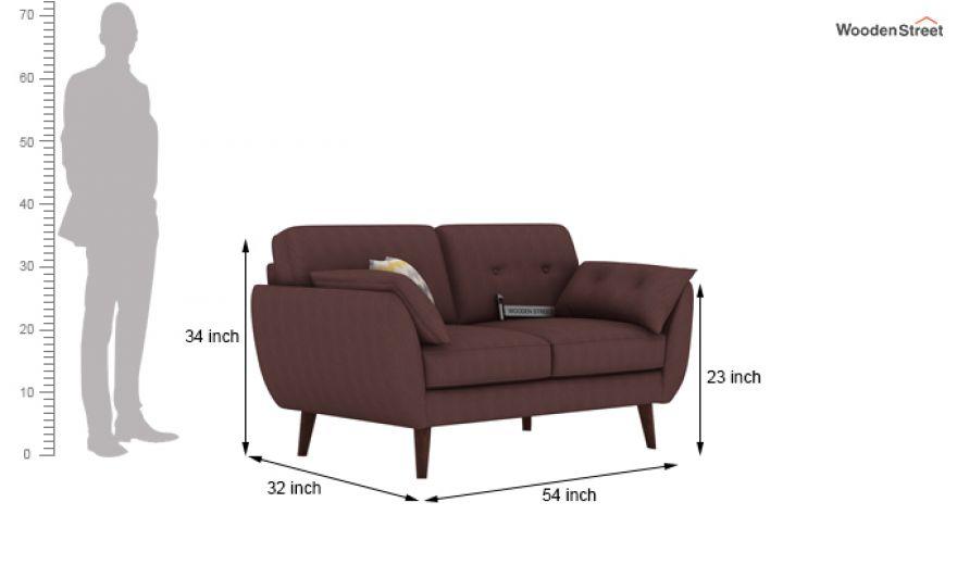 Angela 2 Seater Sofa (Fabric, Classic Brown)-8