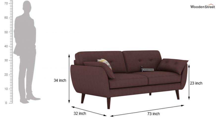 Angela 2 Seater Sofa (Fabric, Classic Brown)-9