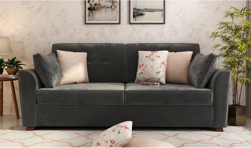 Archerd 3 Seater Sofa (Velvet, Graphite Grey)-2