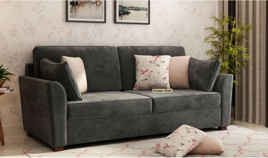Archerd 3 Seater Sofa (Velvet, Graphite Grey)-1