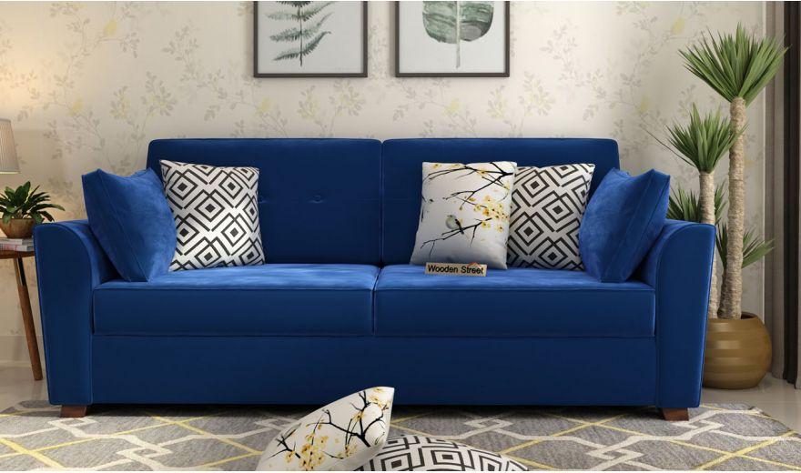 Archerd 3 Seater Sofa (Velvet, Indigo Blue)-2